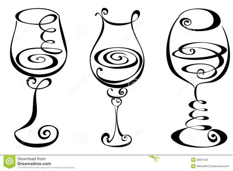wine glass silhouette elegant swirl designs clip art stylized black and white