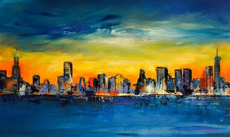 Home Decor Blogs 2014 by Chicago Skyline Painting By Elise Palmigiani