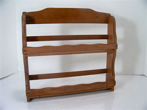 vintage wood spice rack kitchen shelf