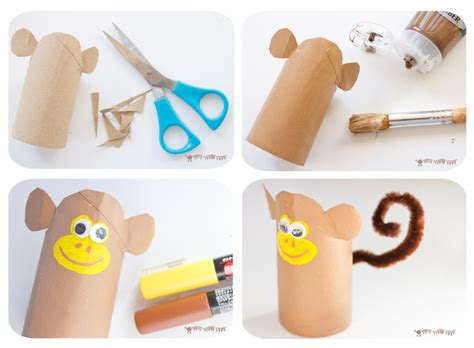 How To Make A Paper Monkey - jungle playset from toilet paper roll crafts