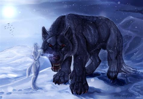 5 11 Beast Black Wolf calming the beast by snow wolf601