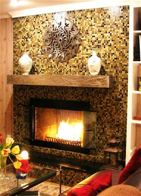 Mosaic Fireplace Hearth by Glass Mosaic Tile Fireplace Surround