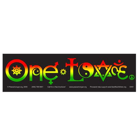 one love symbols rasta full color mini sticker