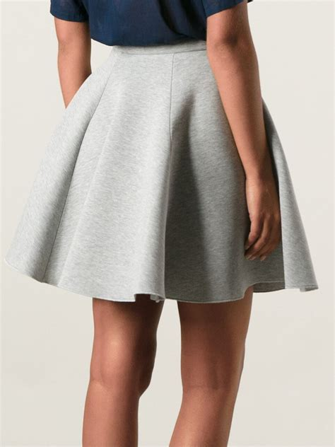 msgm flared skirt in gray lyst