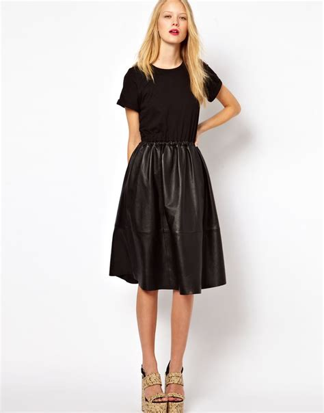 midi dress with leather skirt and jersey top