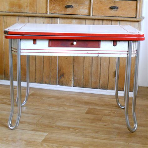 enamel kitchen table vintage enamel top table and white metal by