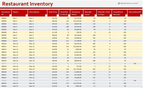restaurant inventory sheet restaurant inventory template