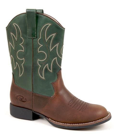 roper boys western brown faux leather toe