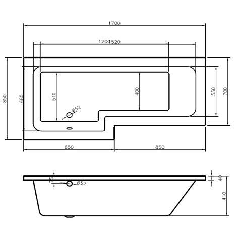 Shower Screen Dimensions by Leda L Shape Left Shower Bath 1700 X 850