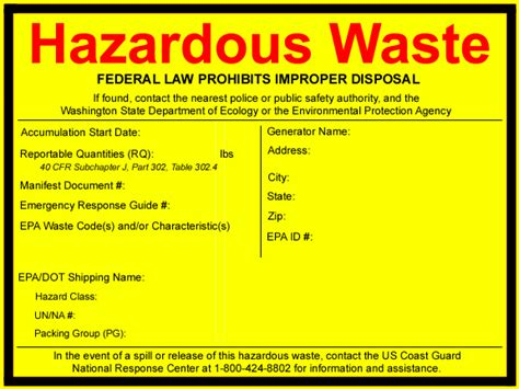 Washington State Department Of Ecology Print Free Labels Free Hazardous Waste Label Template
