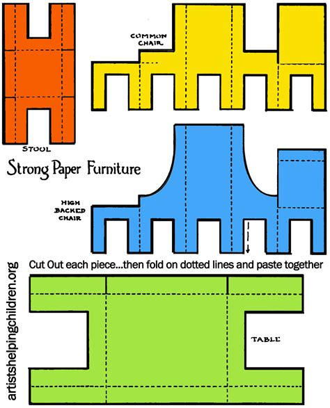 chair template made out of cards how to make a paper doll house table chairs