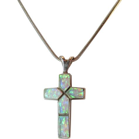 sterling and synthetic opal cross pendant vintage