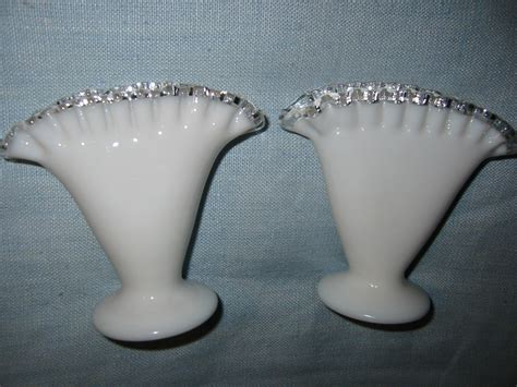 Milk Glass Vases For Sale by Fenton Milk Glass Silver Sheen Fan Vases For Sale