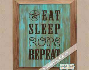 Western Home Decor by Eat Sleep Repeat Cowboy Sign Printable Wall Art 8x10