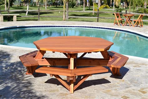 octagon picnic tables octagon picnic table wood picnic table with attached bench