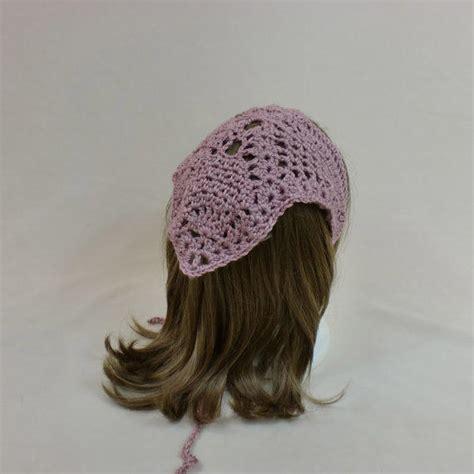 triangle pattern hair hair bandana kerchief pink crochet head from