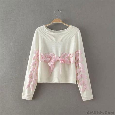 Ribbon Neck Sweater sweet o neck weave ribbon raglan sleeve bow knit