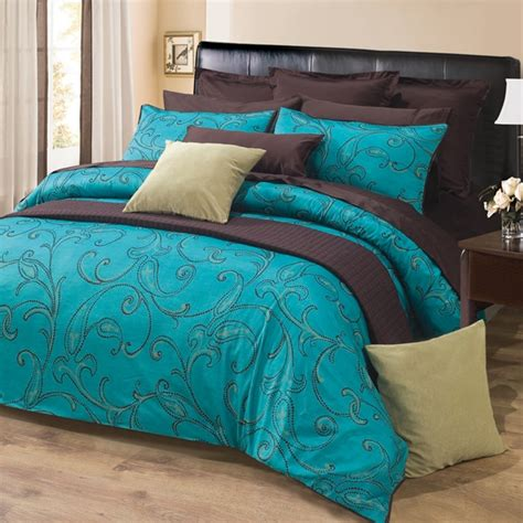 turquoise bed sets 3pc turquoise dark brown paisley design 300tc cotton duvet cover set queen