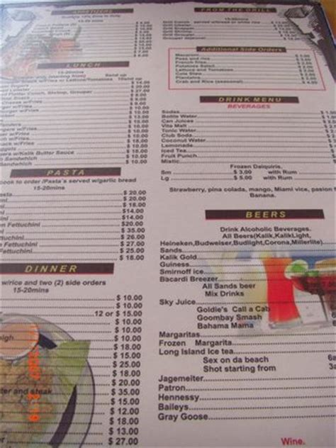 Conch House Menu by Goldie S Menu Picture Of Goldie S Conch House Nassau