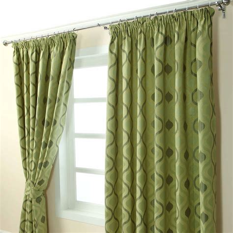 cream green curtains pencil pleat jacquard curtains modern wave fully lined