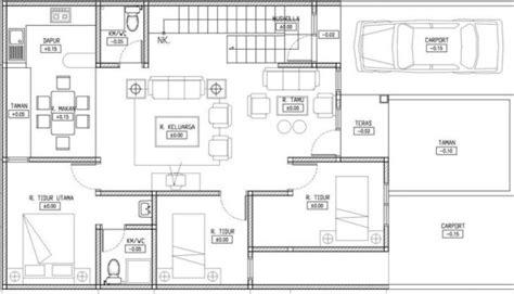 contoh denah rumah minimalis  kamar  lantai house home