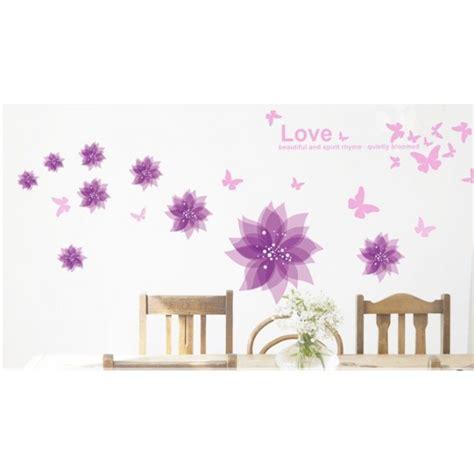 Wall Decor Stickers For Nursery purple flowers purple butterflies wall sticker vinyl