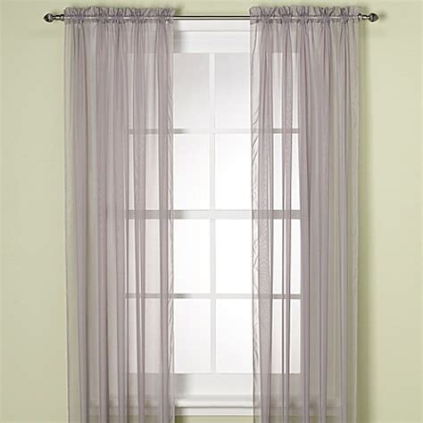 silver sheer curtain panels buy elegance sheer 63 inch window curtain panel in silver
