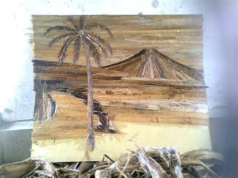 membuat kolase pemandangan membuat lukisan dari gedebog pelepah pisang alvatihah