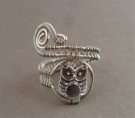 owl wire wrapped ring wire wrapped jewelry handmade