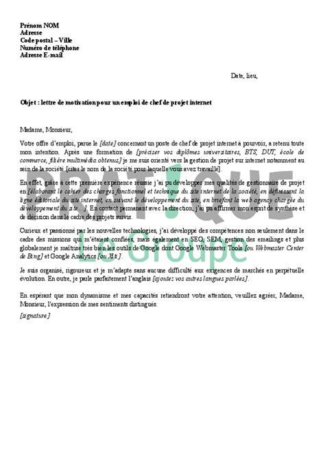 Lettre De Motivation Chef De Zone modele lettre de motivation chef de projet document