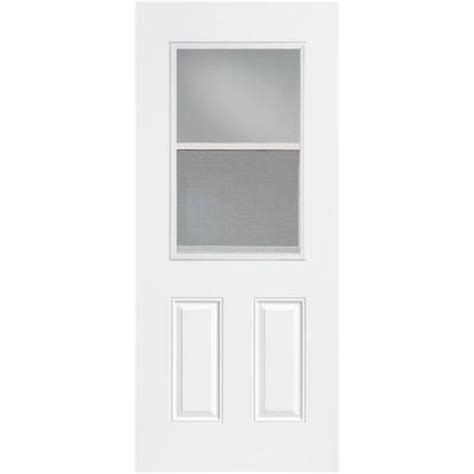 30 X 80 Exterior Door With Window Masonite 30 In X 80 In Premium Half Lite Vent Lite Primed Steel Prehung Front Door With No