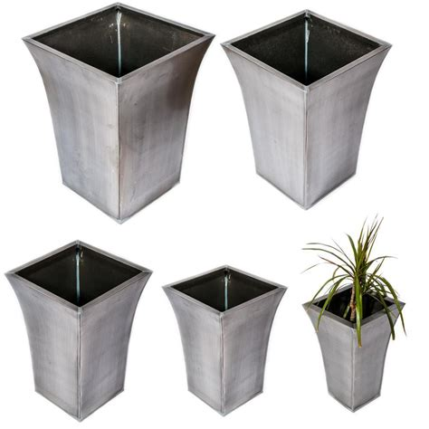 Square Zinc Planter by Galavanised Zinc Titanium Square Outdoor Garden Furniture