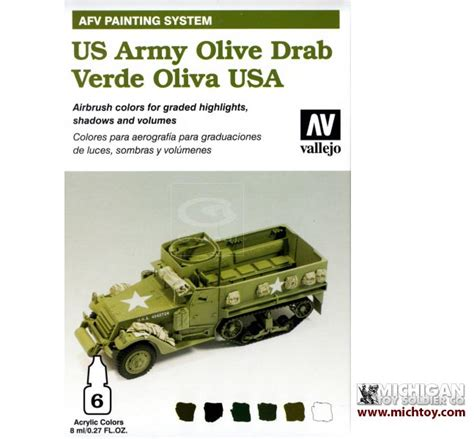 Vallejo 71247 Light Olive Model Kit Paint michigan soldier company vallejo vallejo afv armour painting system us army olive drab set