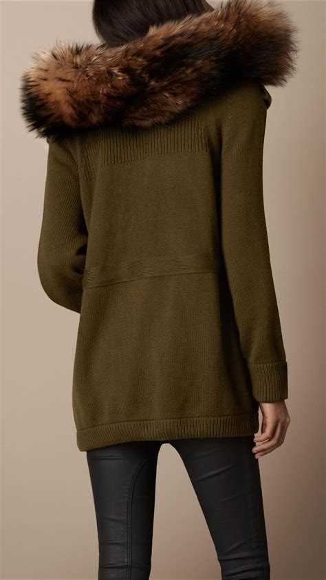 Fur Trim by Lyst Burberry Brit Fur Trim Hooded Cardigan In