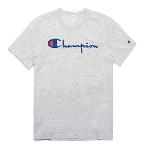Script Logo T Shirt chion weave script logo crewneck t shirt mens