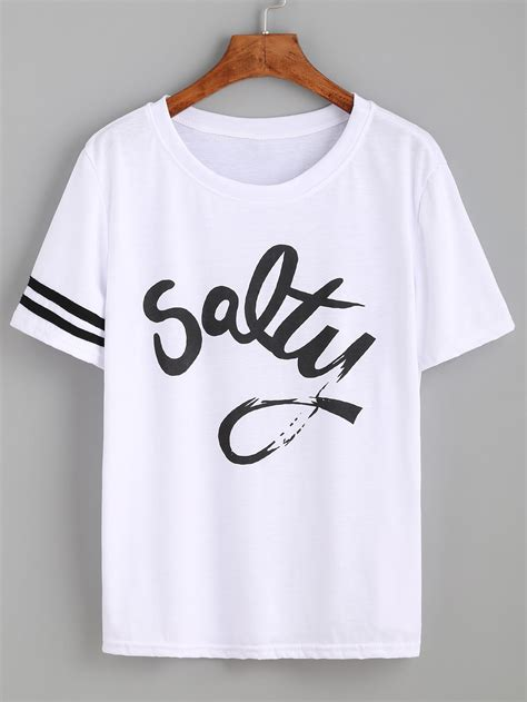 design a letter shirt striped trim sleeve letters print tee shein sheinside