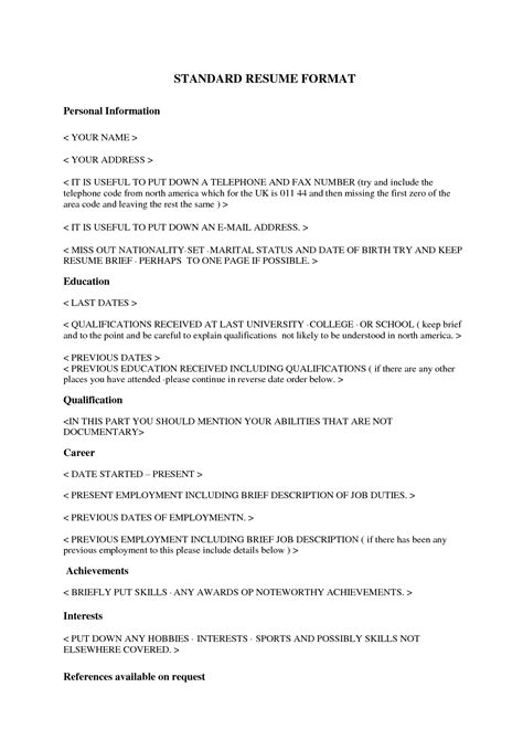 standard format of resume for experienced standard resume free excel templates