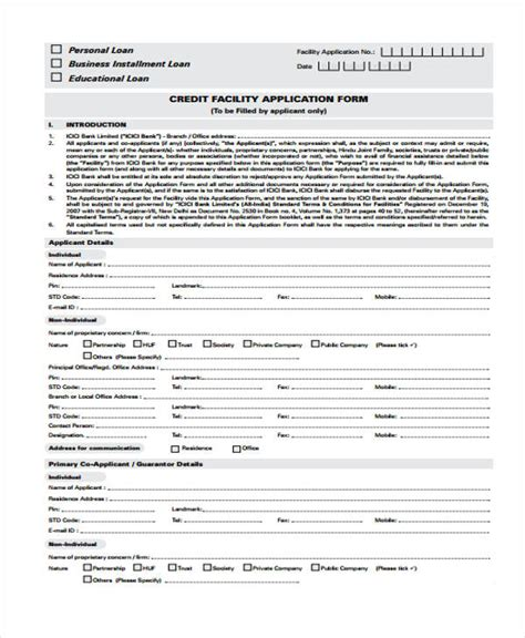 Credit Facility Application Form Template 15 Credit Application Form Templates