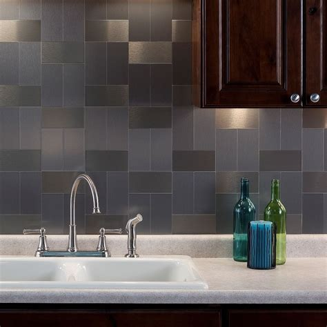 stick on kitchen backsplash aspect 3x6 inch brushed stainless long grain metal tile 8