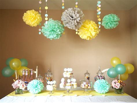 Yellow, mint, grey   baby shower   Baby shower yellow