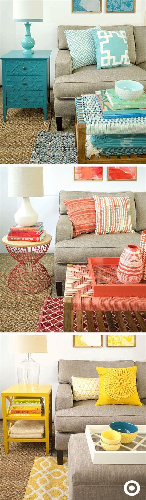 bright colored accent tables bedroom color scheme aqua orange brown paint colors