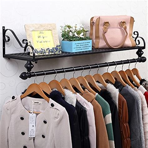 Wall Mounted Clothes Rack With Shelf by Tribesigns 4ft Wall Mount Clothes Rail Clothing Garment