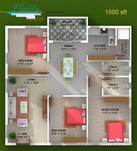 1500 sq ft house plans india 1300 sq ft house plans in india