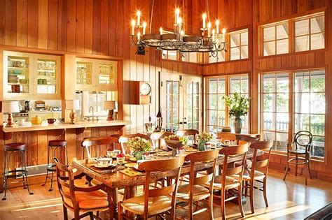 Foyer Pedestal Table Michigan Lake House Rustic Dining Room By Alan