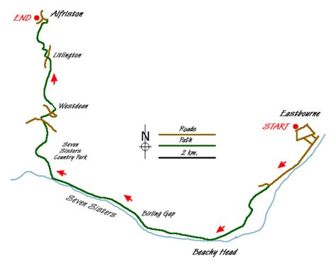 printable map eastbourne eastbourne to alfriston by the south downs way print