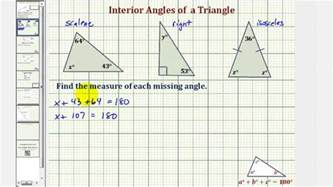 Finding Interior Angles by Ex Find The Measure Of An Interior Angle Of A Triangle