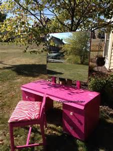 Makeup Vanity Zebra Chair Sold Midcentury Repurposed Painted Pink Makeup Vanity