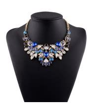 Luxurious Necklace Blue Korea luxurious brightful gems inlaid floral design silver