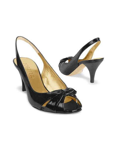 Forzieri Black Bow Taupe Satin And Leather Pumps by Lyst Forzieri Black Patent Leather Slingback Sandal