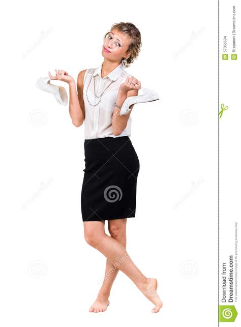Standing Shoes For Work angry upset young business woman with shoes stock photo